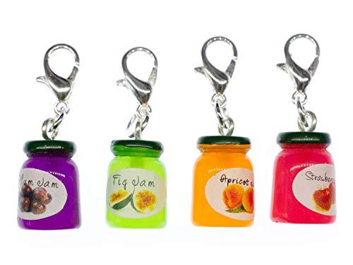 Miniblings Marmeladenglas Charm Marmelade bunt Konfitüre - Handmade Modeschmuck I Kettenanhänger versilbert - Bettelanhänger Bettelarmband - Anhänger für Armband