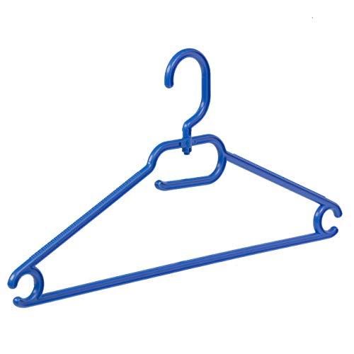 Der Kleiderbügelriese - 30 x Vielzweckbügel Kunststoff blau mit drehbarer Haken, 42 cm