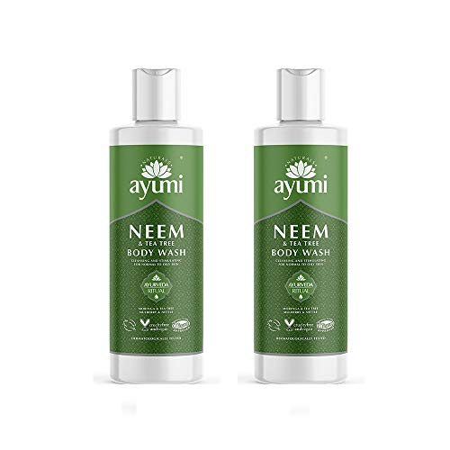 Ayumi Neem & Tea Tree Body Wash. Vegan, Cruelty-Free, Dermatologically-Tested, 2 x 250ml