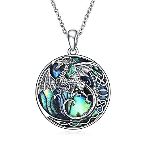 ONEFINITY Celtic Dragon Necklace Sterling Silver Abalone Shell Moon Dragon Pendant Jewelry for Women Men