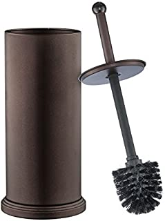 Home-it Toilet Brush Set Bronze Toilet Brush for Tall Toilet Bowl and Toilet Brush Holder with Lid Great Toilet Bowl Cleaner