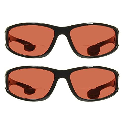 proSPORT Óculos de sol bifocais de segurança + 3 unidades com 2 bloqueadores de luz azul HD preto brilhante