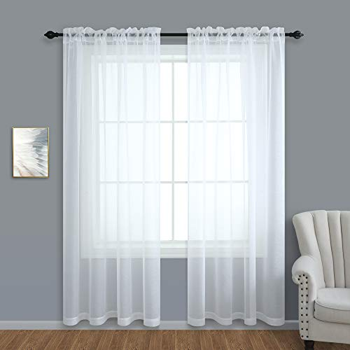 White Sheer Curtains 108 Inches Long for Living Room 2 Panel Set Rod Pocket Voile Transparent Sheer Backdrop Curtains for Wedding Party Birthday 9 FT 9FT Inch Length