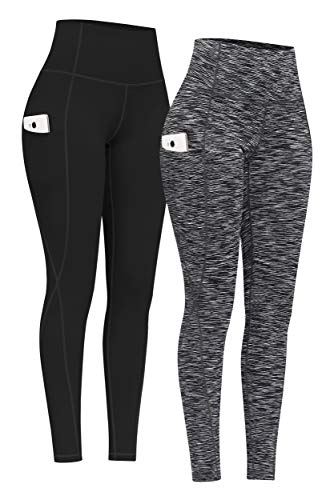 PHISOCKAT 2 Pack High Waist Yoga Pants with Pockets, Tummy Control Yoga Pants for Women, Workout 4 Way Stretch Yoga Leggings (Black+Space Dye Black, Large)