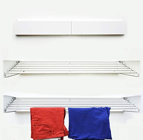 NEBU Tendedero plegable Montar en Paredes Retráctil para Interiores ExterioresPuesto de suspensión al aire libre Tendal Capacidad para 35 Kilos, 6 Metros (Blanco)