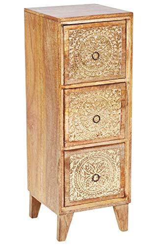 Orientalischer Holz Nachttisch Enkidu für Boxspringbett Braun Gold 70cm groß | Vintage Telefontisch Beistelltisch Deko orientalisch | Indischer Nachtschrank Extra Hoch | Asiatische Möbel aus Indien