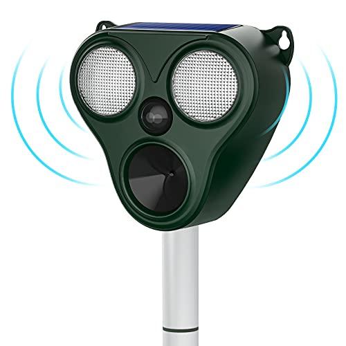 Jahy2Tech Solar Ultrasonic Animal Repeller,PIR Sensor with Trigger Alarms and Flashes for Rat, Dog, Cat, Squirrel, Raccoon, Skunk, Rabbit, Mole, Snake, Deer Sensor Repellent, Waterproof