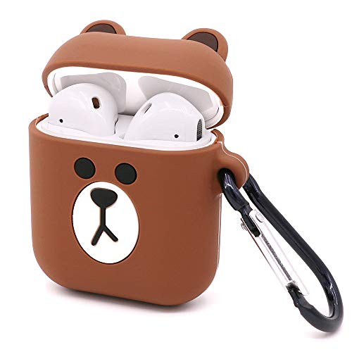 Yonocosta Cute Airpods Case, Airpods 2 Case, Funny 3D Cartoon Animals Brown Bear Full Protection Shockproof Soft Silicone Charging Case Cover Skin with Keychain for Airpods 1&2