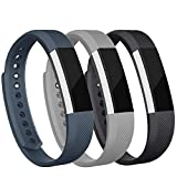 iGK Replacement Bands Compatible for Fitbit Alta and Fitbit Alta HR, Newest Adjustable Sport Strap Smartwatch Fitness Wristbands with Metal Clasp Black Gray Slate Large