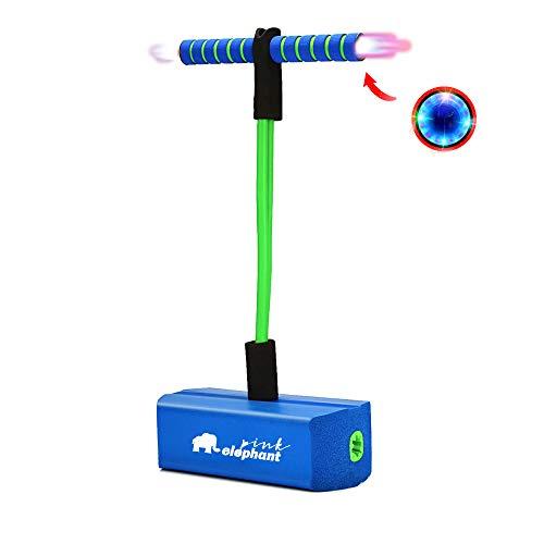 ALLCELE Pogo Stick para niños con luz y sonido, espuma Pogo para niños (azul oscuro)