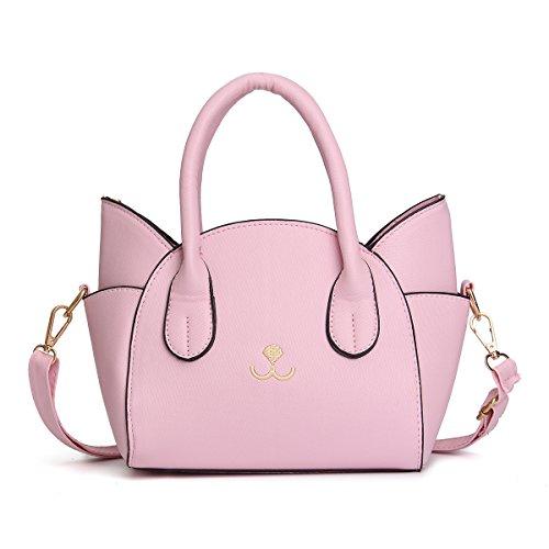 OURBAG Damen Leder Tasche Katze Gesicht Flügel Schultertasche Umhängetasche Handtasche Rosa