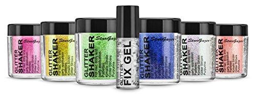 Stargazer Un Superbe Ensemble de 6 Tubes de Paillettes Fluo 5 g + Gel Fixant Parfait pour Fans de Paillettes