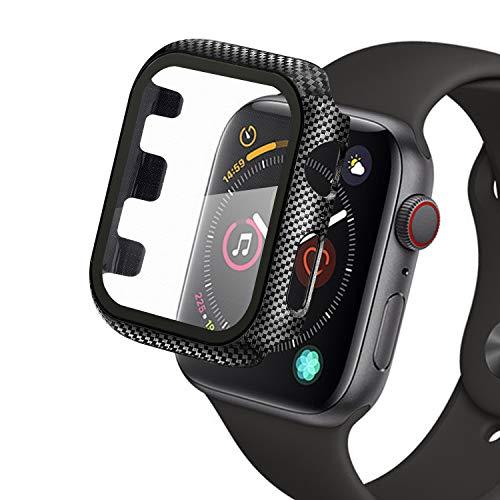 Qianyou Compatibile con Apple Watch 42mm Series 3/2/1 Custodia+Protezione Schermo, Case PC Protettiva in Vetro Temperato Integrata, Cover Pieno Paraurti e Screen Protector (Fibra di Carbonio)