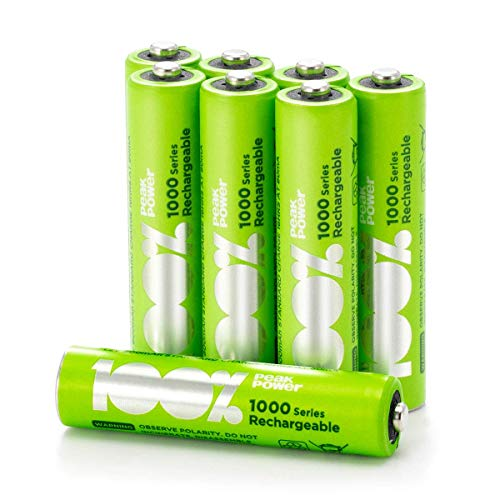 100% PeakPower Akku AAA, 8 Stück AAA Batterien wiederaufladbar, min. 800mAh, NiMH Technologie ohne Memory-Effekt, 1,2 Volt (1,2V), LSD Technologie, Ready-to-Use