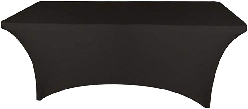 Banquet Tables Pro Black 8 Ft Long 30 Inch Wide Rectangular Stretch Spandex Tablecloth