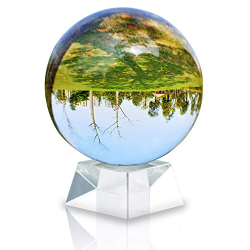 Intirilife Glaskugel mit Ständer in KRISTALL KLAR 100. mm – Kristallkugel mit Glasständer perfekt geeignet für Meditation, Fotografie, Dekoration UVM. – Kristallball Glasball Fotokugel