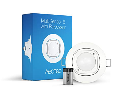 Aeotec Multisensor 6 & Ceiling Recessor, Z-Wave Plus 6-in-1 Motion, Temperature, Humidity, Light, UV, Vibration Sensor, Battery included