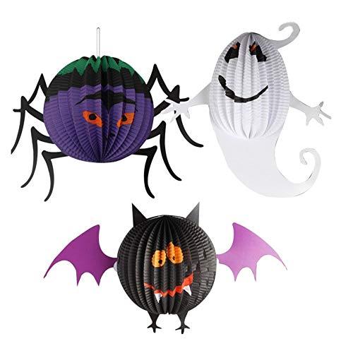 Rouku Halloween Laterne Requisiten Laterne Anhänger Fledermäuse Spinne Geist Lustige Papierlaternen gehängt schmücken Home Party Dekorationen (bunt) (S)