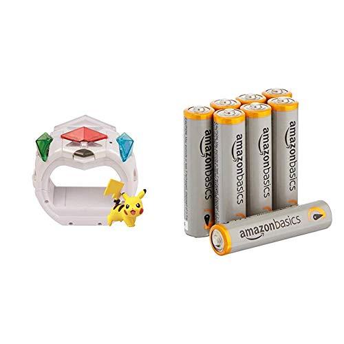 Pokemon T19202D - Z-Ring mit Pikachu Figur & 3 Z-Kristalle & AmazonBasics Performance Batterien Alkali, AAA, 8 Stück (Design kann von Darstellung abweichen)