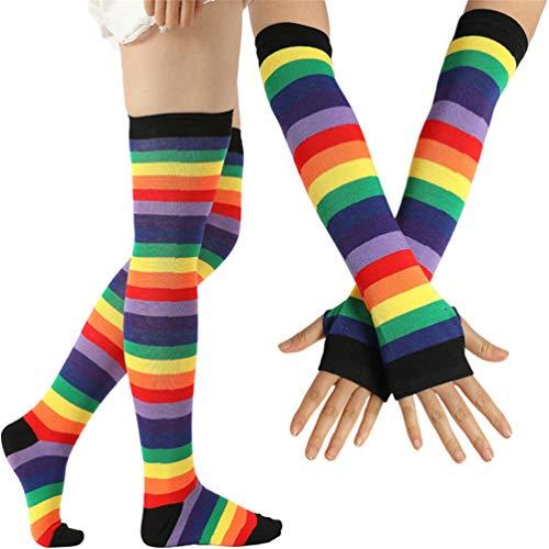 EDOTON Kniestrümpfe Regenbogen Streifen Arm Wärmer Bein Strumpf Bunte Oberschenkel Hohe Socken Fingerlose Handschuhe Hülsen-Set für Frauen Mädchen Party Stützen (Schwarz)