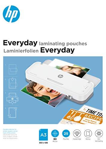 HP Everyday 9152 - Fogli per plastificatrice a caldo, formato DIN A3, 80 micron, 25 pezzi, colore: Trasparente
