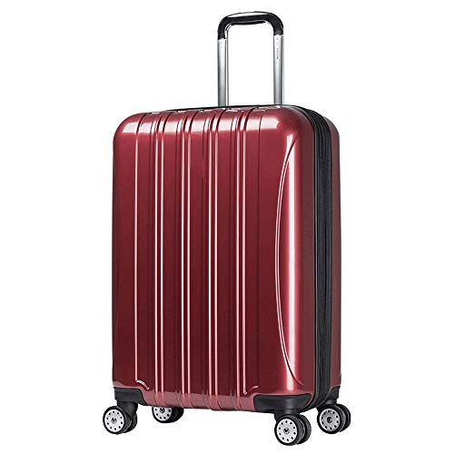 Ang-xj French ambassador trolley case PC external warehouse can be expanded travel boarding password box,waterproof,wear-resistant, business fashion trend wear-resistant suitcase (Color : Red)