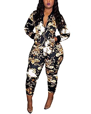 Floral Tracksuit Sets for Women Casual Jacket + Pant Joggers Sportwear Activewear Two Piece Outfits with Pockets Black L