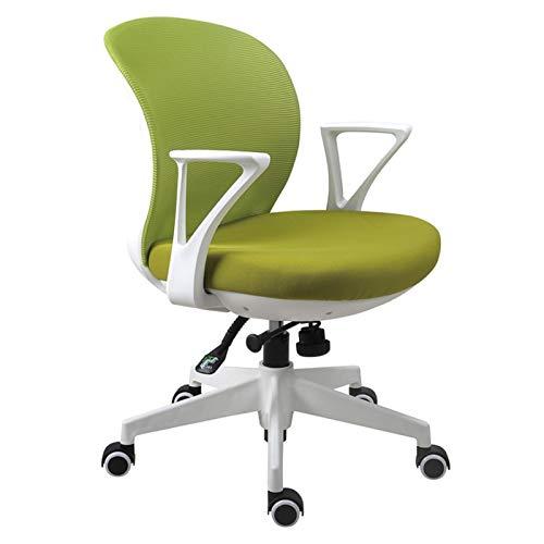 BIAOYU Silla de oficina para el hogar, cómoda, para estudiantes, para aprender a escribir, silla de escritorio, silla de estudio, silla giratoria simple para computadora (color: verde)