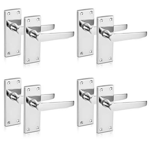 XFORT® Spak spärr platt polerad krom dörrhandtag, elegant dörrhandtag set för trädörrar, klassisk viktoriansk rak design, perfekt för alla typer av innerdörrar [4 par].