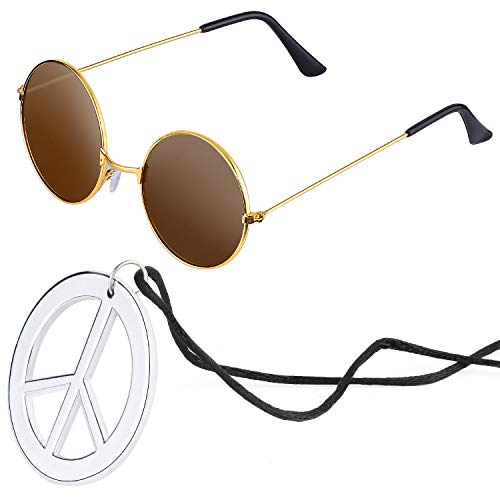 Beelittle Hippie Kostümzubehör für Herren und Damen - Retro John Lennon Hippie 60er Jahre Kreis Brille Friedenszeichen Halskette (Braun)