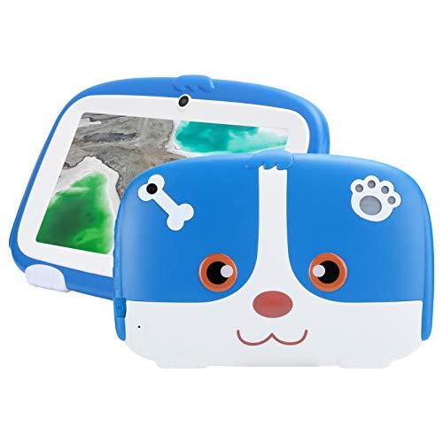 Estuche azul a prueba de niños Pantalla de 7 ' Tableta para niños para Google 16GB Tableta de escritura para niños Lector electrónico de aprendizaje con lindo dibujo animado diseñado(Enchufe de la UE)