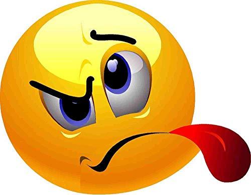 kleberio Aufkleber Emoji Smiley gemein Zunge rausstrecken Sticker Auto Motorrad Caravan wetterfest 10 x 10 cm