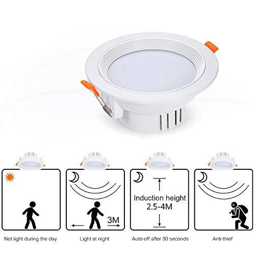 Downlights LED Redondo, Sensor de Movimiento Luz LED Interruptor automático Lámpara de Techo Luz Nocturna Detector de Movimiento 1600 lúmenes Luz empotrada Luz Diurna para Pasillo Sótano Armario