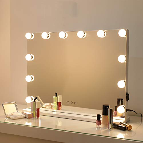DAYU Cosmetic Hollywood Wandspiegel Kosmetikspiegel mit LED-Beleuchtung für den Schminktisch, Helligkeitseinstellung, 3 Leuchtmodi, Memory-Funktion, 12 dimmbare Glühbirnen, Weiß
