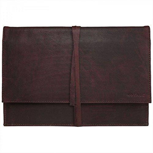 ROYALZ Lederhülle für Medion Chromebook S2015 Ledertasche (11.6 Zoll) Tasche Schutz Hülle Cover Schutztasche Schutzhülle Hülle Sleeve Leder braun