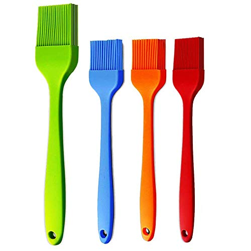 Basting Brush Silicone Pastry Baking Brush BBQ Sauce Marinade Meat Glazing Oil Brush Heat Resistant , Kitchen Cooking Baste Pastries Cakes Meat Desserts, Dishwasher Safe 4Pack