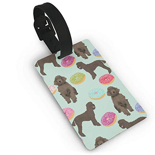 JKOVE Etiquetas Equipaje,Poodles Donuts Cute Poodle Funny Brown Poodle Chocolate Poodle Donuts Design Cute Poodles para Tarjetas de Visita,Flexibles,Regalos de Viaje
