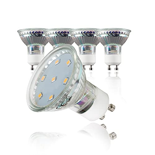 B.K.Licht Lampadine LED luce calda, 3W (equivalenti a 25W) attacco GU10, confezione da 5, 250 lumen, 3000Kelvin, per faretti, plafoniere, lampade, illuminazione da interno 230V