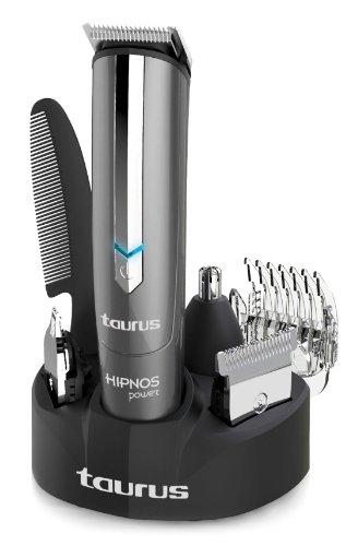 Taurus Hipnos Power - Tondeuse Multifonction, 4 têtes Iinterchangeables, Utiliser avec ou sans Câble, Batterie Rechargeable, 40 min d'Autonomie, Lames en Acier Inoxydable, Gris