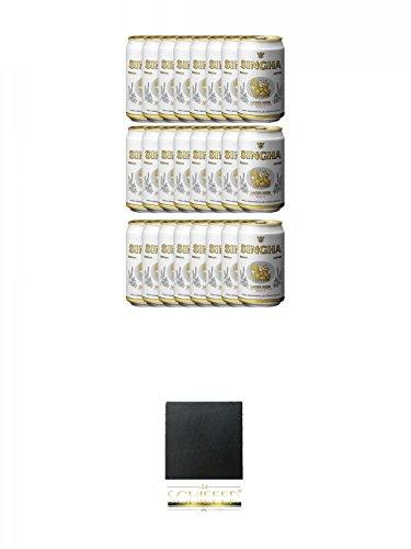 Singha Thailand Bier 24 x 0,33 Liter in Dose inklusive Dosenpfand + Schiefer Glasuntersetzer eckig ca. 9,5 cm Durchmesser