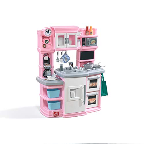 Step2 784200 Great Gourmet Kitchen | Durable Kids Kitchen Playset with Lights & Sounds | Pink Plastic Play Kitchen, 16.75 x 39 x 46 inches