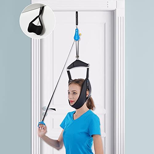 Cervical Neck Traction Device for Home Use, Portable Neck Stretcher Hammock Over Door for Neck Pain Relief, Neck Sling for Spine Decompression. (Black)