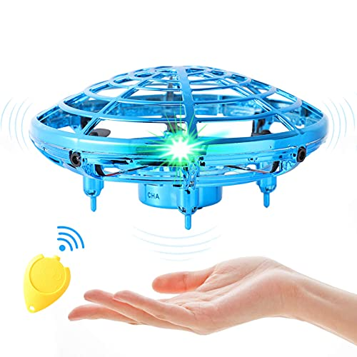 Flying Toy Mini Drone for Kid, Hand Controlled Flying Ball with LED Light, UFO Helicopter with 2 Speed, Easy Indoor Outdoor Levitation Drone with 360° Rotating Toy Gift for Boy Girls (Blue)