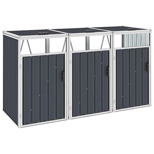 vidaXL Mülltonnenbox für 3 Mülltonnen Klappdeckel Mülltonnenverkleidung Müllbox Müllcontainer Gartenbox Gerätebox Anthrazit 213x81x121cm Stahl