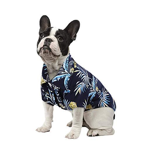 SAWMONG Hawaii-Hemd für Hunde und Katzen, Poloshirt mit Blumendruck, für Sommer, Strand, Camping-Weste, Ananas, für kleine und mittelgroße Hunde (Marineblau, L)