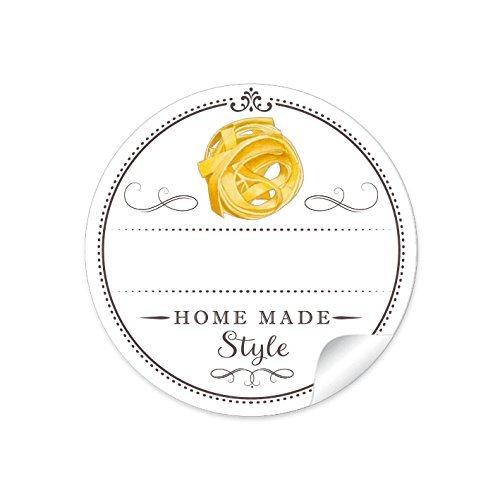 24 STICKER: 24 Schöne Pasta Etiketten für die Küche in Weiß mit Tagliatelle