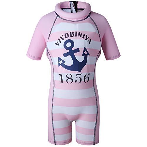 Mädchen Jungen Einteiler Kurzarm Bademode - Bojen-Badeanzug für Kinder Badebekleidung mit Schwimmbojen Float Suit Auftrieb Badeanzug, Pink L