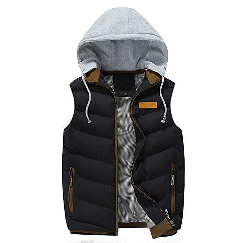 Sunhusing Autumn Winter Men's Detachable Hooded Thick Vest Outwear Large Size Cotton-Padded Gilet Coat Black