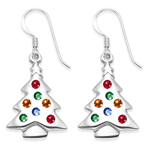 Heather Needham Sterling Silver Multi coloured Cubic Zirconia Christmas Tree Earrings SIZE: 23mm x 16mm plus wires sent in one of our christmas boxes 04711.
