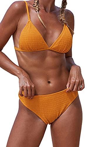 Ocean Plus Bikini para mujer, monocolor, triángulo y flores, espalda